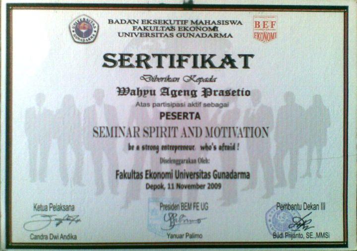 """Foto Sertifikat Seminar Universitas Gunadarma """"SPIRIT AND MOTIVATION"""""""